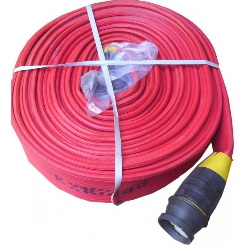 "Red Canvas Fire Hose 2/2"" X 75 Ft C/W Couplings"